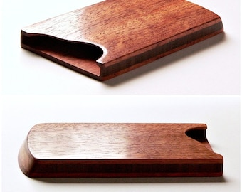 Wood business card holder -business card case - stylish accessory for him or her - mahogany and walnut - MADE TO ORDER