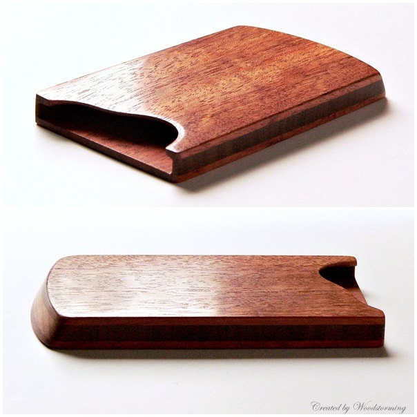 Wood business card holder business card case by Woodstorming