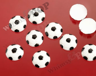 5 - Small Sporty Sport Black and White Soccer Balls Cabochons, Sport Resin Flatback Cabochons, Ball Cabochons, 15mm  (R8-136)