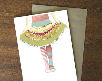 Greeting Card - whimsical thank you skirt dress up little girl birthday blank card - by Paper Taxi