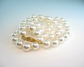 Pearl Necklace Single Strand 8 mm Creamy White Faux Pearls Hand Knotted 19 inches Vintage Wedding