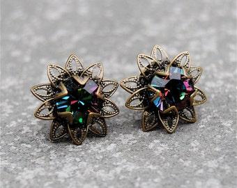 Dark Rainbow Floral Earrings Swarovski Crystal Rainbow Earrings Vintage Saffron Sparklers Mashugana