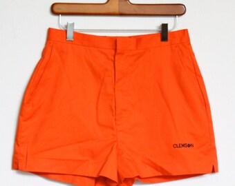Clemson University Shorts Womens size 6 Made In USA Orange Cheerleader Tigers