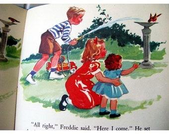 Meet The Bobbsey Twins Vintage 1950s Children's Wonder Book Mid Century Illustration