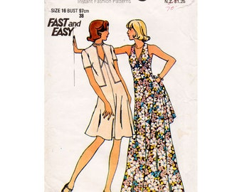HALF PRICE 1970s Maxi Sun Dress and Jacket Pattern Butterick 3754 Vintage Sewing Pattern Bust 38 Plus Size