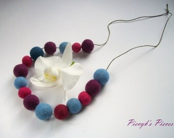 Blue Purple Pink Felt Beads Necklace OOAK
