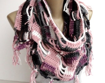 christmas gifts Crochet Scarf women scarf shawl  women scarves ,crocheted shawl scarf Holiday Fashion Winter Scarf Women Fashion Accessories