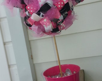 Minnie Mouse Inspired Ribbon Topiary  Decor with Bucket