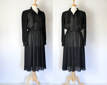 70s Dress / 70s Sheer Dress / Black Dress / Shirtwaist Dress / 70s Boho Dress
