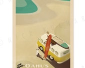 See Oahu's North Shore - 12 x 18 Retro Hawaii Surfing Print