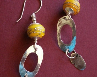 Earrings, Sterling Silver and Yellow Lampwork Glass Beads