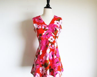 Vintage 60s Mini Dress, Pink Flower Power Dress, X Small Vintage Dress