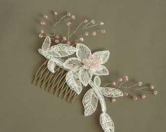 Bridal Hair Fascinator, Applique Lace Headpiece Comb, Pastel Pink Sprays, Bridal Flower Hairpiece, Romantic Spring Wedding, Unique Design