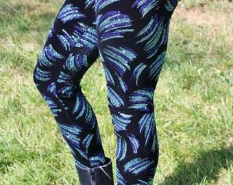 Ladies Glitter Brush Stroke Velvet Leggings - pick your size