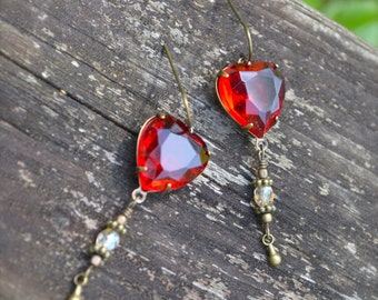 Heart of Glass Earrings Ruby Red Glass Heart Earrings Valentines Day gift for her