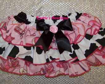 Cowgirl Diaper Cover / Ruffle Bloomer / Cow & Pink Bandana / Western / Newborn / Infant / Baby / Girl / Toddler / Custom Boutique Clothing