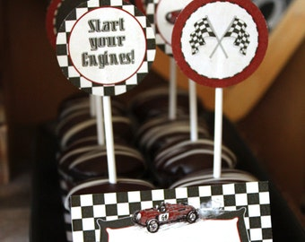 Vintage Racing Car Party Circles/Cupcake Toppers - INSTANT DOWNLOAD - Editable & Printable Birthday Decoration by Sassaby