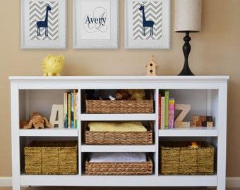 Giraffe and Chevron, Children's Wall Art, Children's Art Print, Nursery Decor, Giraffe Decor- Set of three 8x10 prints