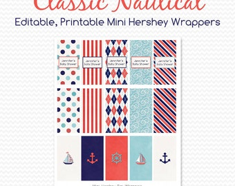 Nautical Baby Shower Favor, Mini Candy Bar Wrapper, Chocolate Bar Label, Birthday Party Favor, Sailboat  -- Editable, Printable, Instant