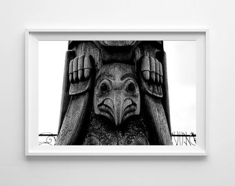 Native American Art - Totem Pole Black and White Seattle Art - Pacific Northwest Tribal Art Print - Oversized Prints Available