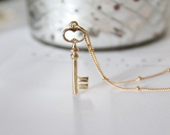 "Gold Key Charm Necklace on Beaded Gold Filled Chain - ""Key to my heart"" - Mother's Day Gift - Lucky Charm"