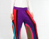 Colorful patch work wide leg pants,unisex pants, jersey cotton pants ,plus size(SMP13)