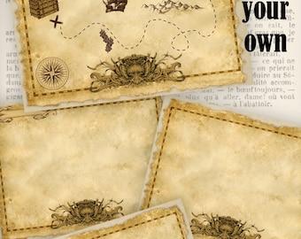 Treasure Map Digital Scrapbooking Kit Vintage Printable Images digital graphics instant download Digital Collage Sheet - VD0760