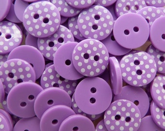 Purple 10 x 12mm High Quality Polka Dot Buttons