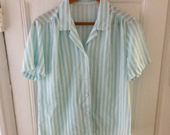 Striped Blue and White Button Up - L