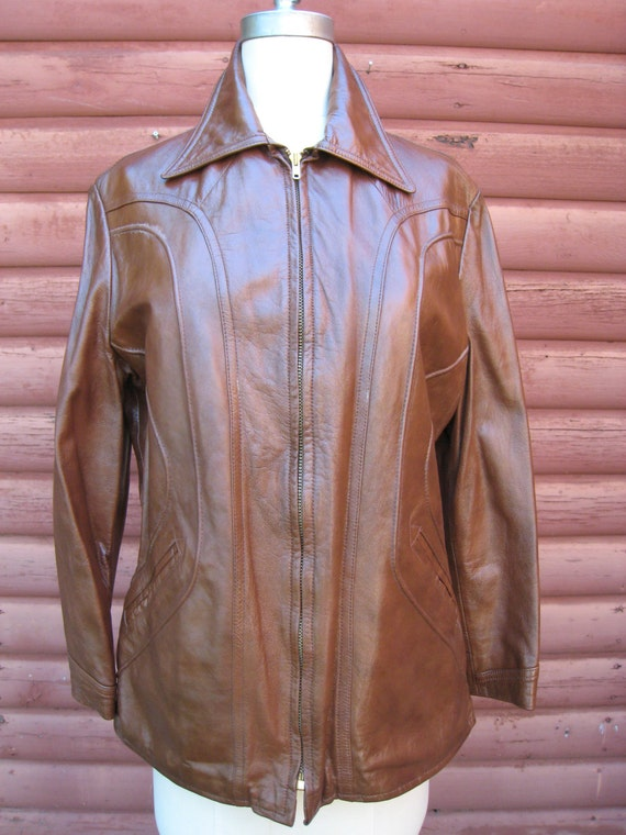 Awesome Brown Leather Jacket with Amazing Panel Details by H & H Leather Sportswear
