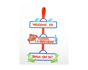 Nemo Themed Door Sign Personalized Birthday Decoration
