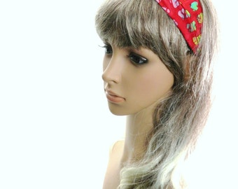 Red Batik Headband with Rainbow Color Window Pane Squares Handmade by Thimbledoodle Custom Size Available