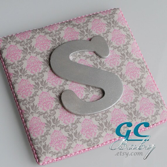 Items similar to pink grey damask upholstered fabric wall for Pink and grey nursery fabric