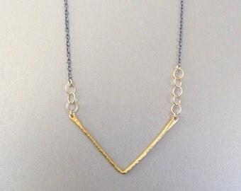 Gold & Oxidized Silver Chevron Necklace - Chevron Necklace - Gold Chevron Necklace - Layering Necklace