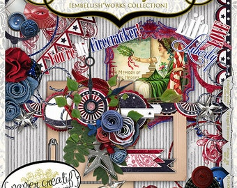 Old Glory 4th of July by Papier Creatif - Patriotic Digital Scrapbook Kit