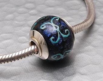 Big Hole Lampwork Glass Bead - Midnight - Handmade SRA Fully Lined Dichroic Slider Charm