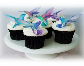 Edible CAKE TOPPERS Hummingbirds - 12 Cupcake Toppers, Wedding Favors, Spring Wedding, Pastel
