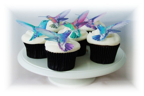 Edible CAKE TOPPERS 12 Hummingbirds Cupcake By IncrEDIBLEtoppers