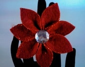 Dark Red Poinsettia Christmas Holiday Statement Ring (adjustable)