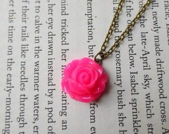 Pink rose necklace- Hot pink flower necklace- Vintage style rose necklace- Petite rose necklace