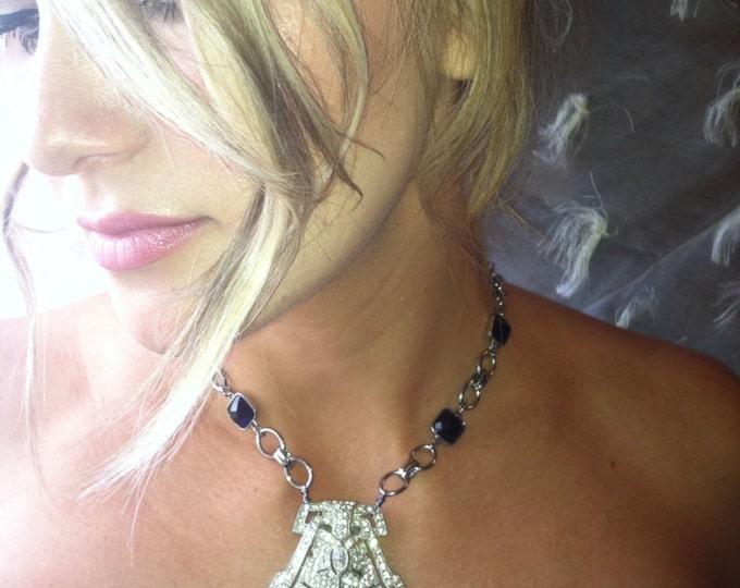 Indigo Rapture ~ Vintage Rhinestone Fur Clip and Sapphire and Silver chain