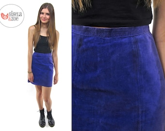80s Purple Mini Leather Skirt ΔΔ High-Waist Pencil Skirt Colored Leather Skirt ΔΔ xxs / xs
