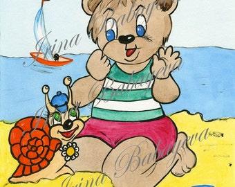 Very Cute Little Bear And Happy Snail, Watercolor Nursery Art, Bedroom Baby Nursery 8 x 10 Wall Art Prints