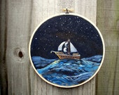 Midnight Voyage Embroidery Hoop Art - Original Acrylic Painting with Embroidery - Nautical Beach Decor