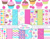 Sweet cupcakes - Digital paper  and clip art set