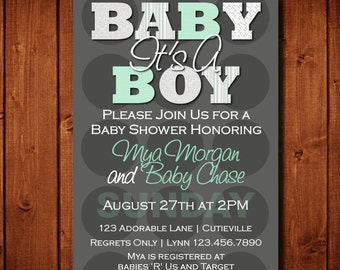 Modern It's A Boy Baby Shower Invitation Mint and Gray Digital File or 5x7 Prints on Front and Back