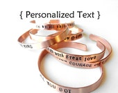 custom hand stamped Copper Bracelet - - hand stamped jewelry bangle cuff, Personalized Bracelet Unisex adjustable, gift, handmade