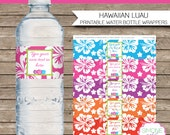 Luau Party Water Bottle Labels or Wrappers - INSTANT DOWNLOAD & EDITABLE template - type your own text in Adobe Reader