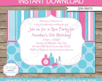 Spa Invitation Template - Birthday Party - INSTANT DOWNLOAD with EDITABLE text - you personalize at home