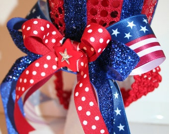Patriotic July 4th Mini Top Hat  Red, White and Blue Stars and Stripes, Sequins, Ribbons - Independence, Pageant, Dance, Uncle Sam, July 4th